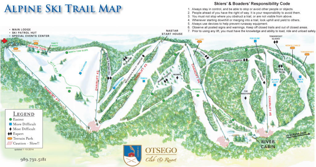 Otsego Club Trail Map