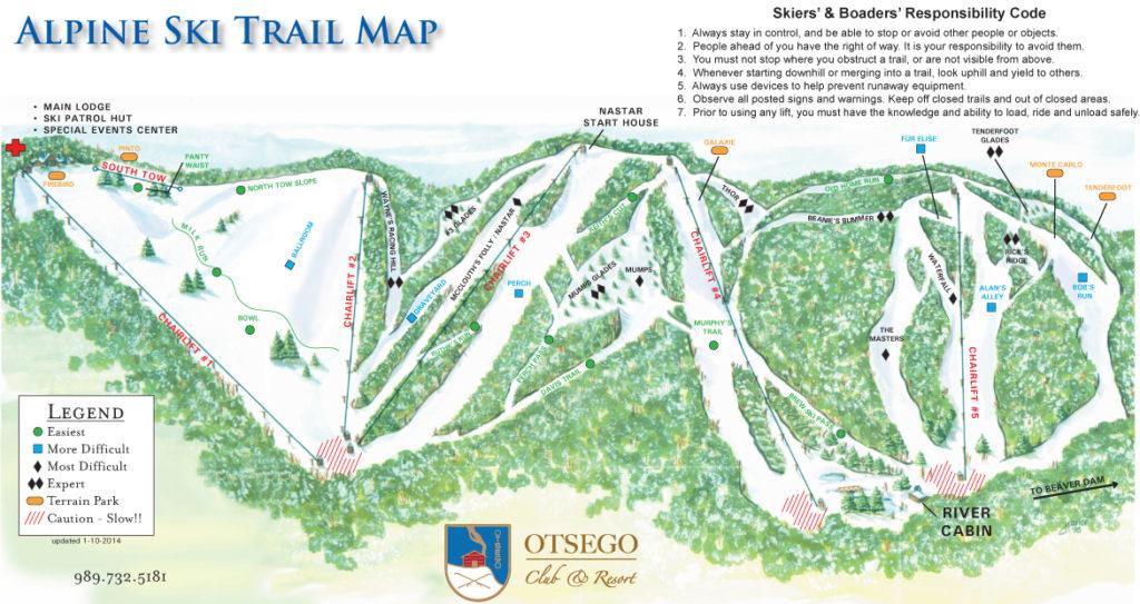 Otsego Club Trail Map